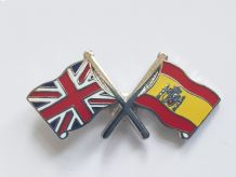UNION JACK & SPAIN - FLAG FRIENDSHIP BADGE (T262)